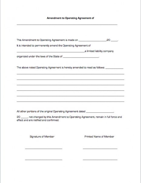 Amendment to Operating Agreement – Operating Agreement