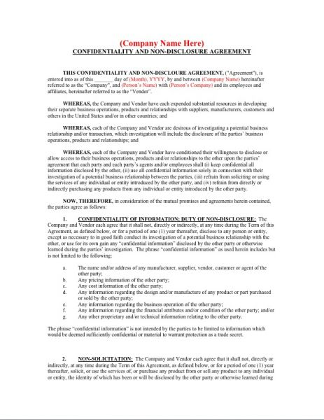 Confidentiality And NonDisclosure Agreement  Business Forms