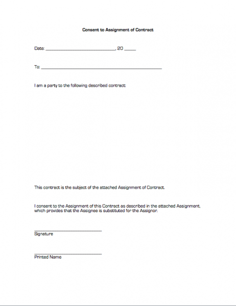 Consent to assignment of contract