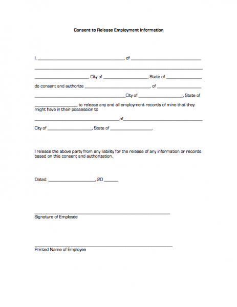Consent to Release Employment Information | Business Forms