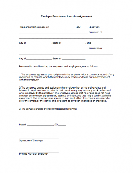 Employee Patents and Inventions Agreement | Business Forms