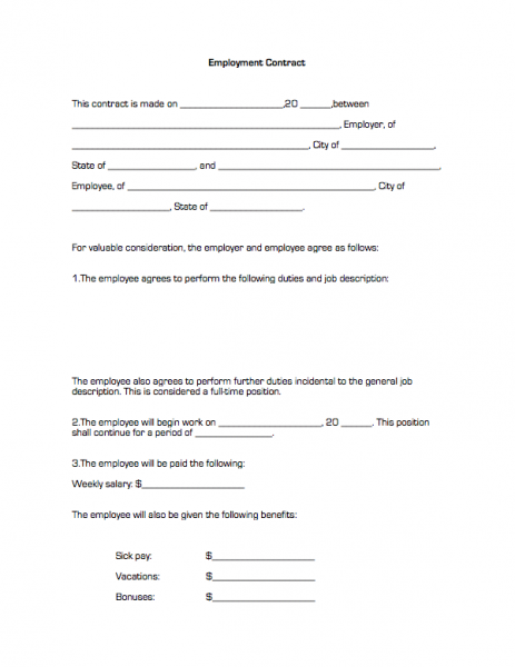 Employment Contract – Employment Contracts