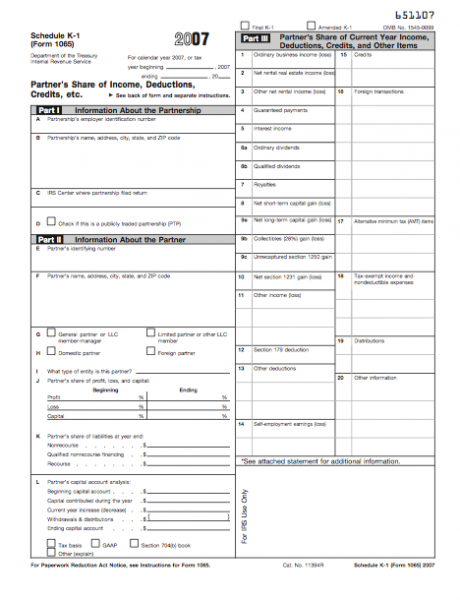 Form 1065-K-1 - Partner's Share of Income, Deductions, Credits, etc ...
