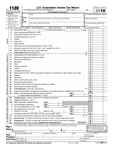 Form 1120 - U.S. Corporation Income Tax Return | Business Forms