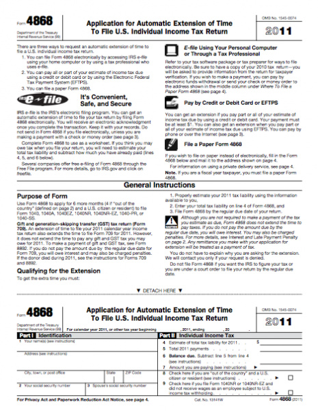 Form 4868 Application For Automatic Extension Of Time To File Us