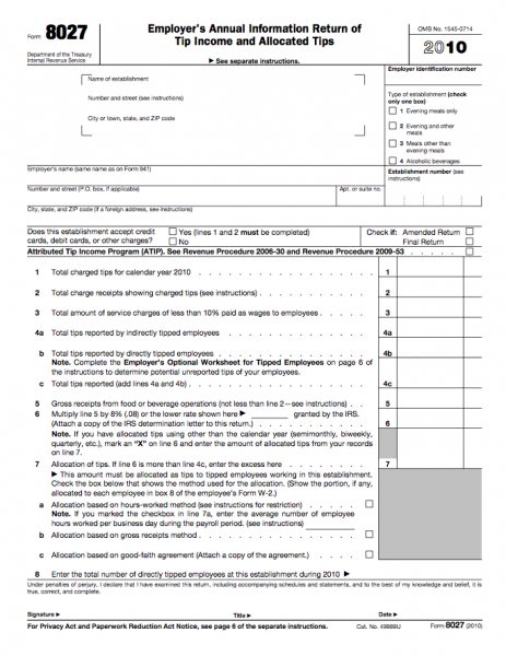 Form 8027 - Employer's Annual Information Return of Tip Income and ...