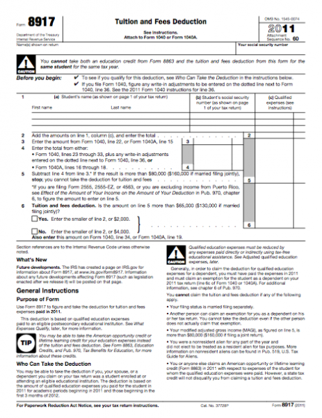 Form 8917 - Tuition and Fees Deduction | Business Forms