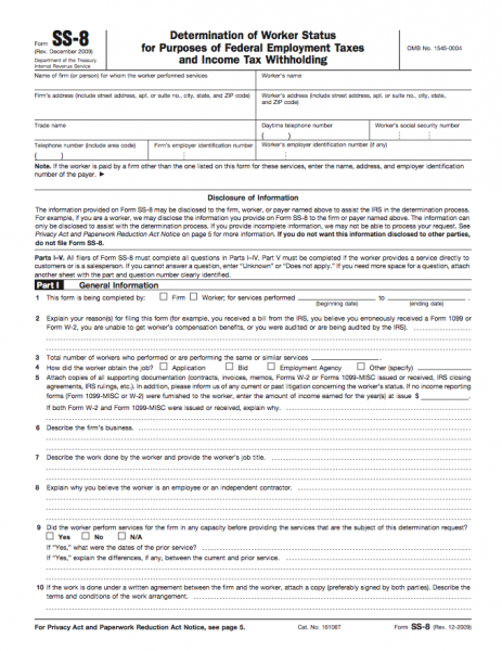 Form SS-8 - Determination of Worker Status for Purposes of Federal ...