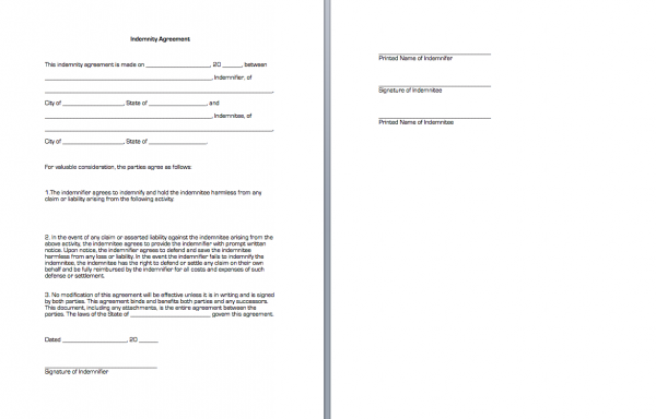 Indemnity Agreement – Indemnity Forms