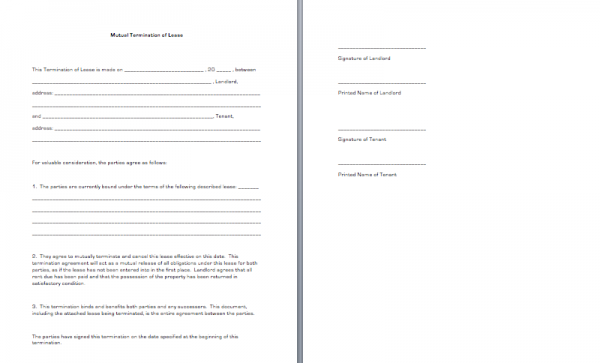Mutual Termination of Lease | Business Forms