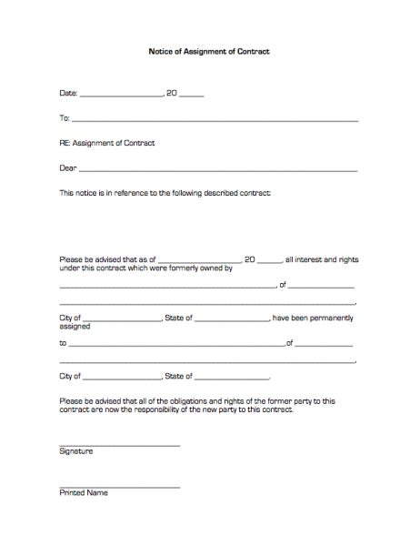 assignment of real estate form