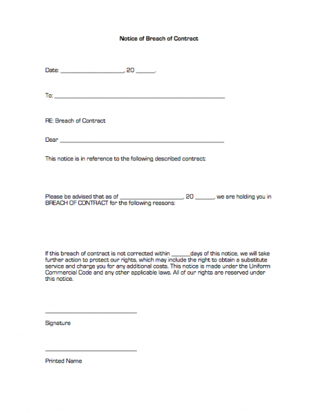 Notice Of Breach Of Contract Business Forms