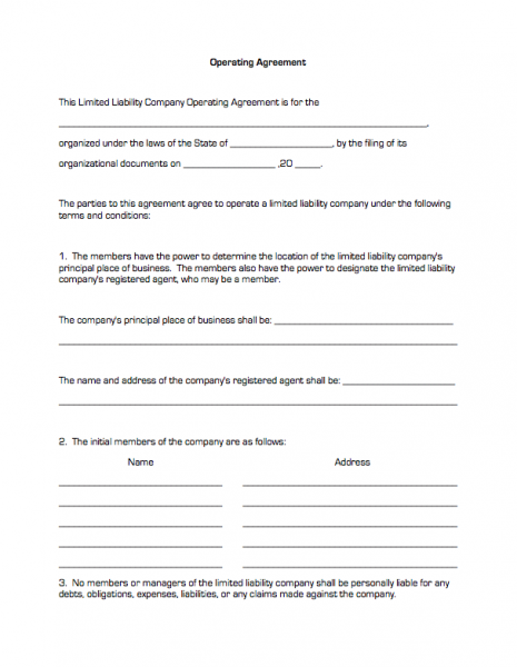 Operating Agreement – Operating Agreement