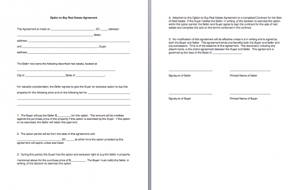 Option to Buy Real Estate Agreement | Business Forms