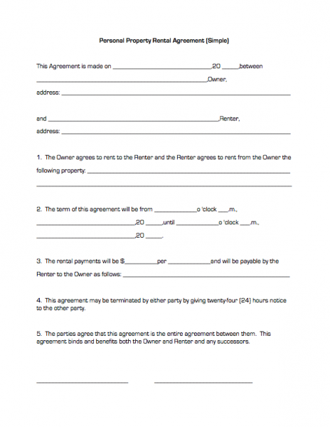 Doc12751650 Simple Rent Agreement Form Simple Rental – Simple Rental Agreement Example