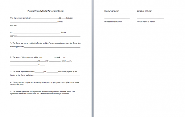 Residential Tenancy Agreement Template Free Printable Standard – Simple Rental Agreement Example