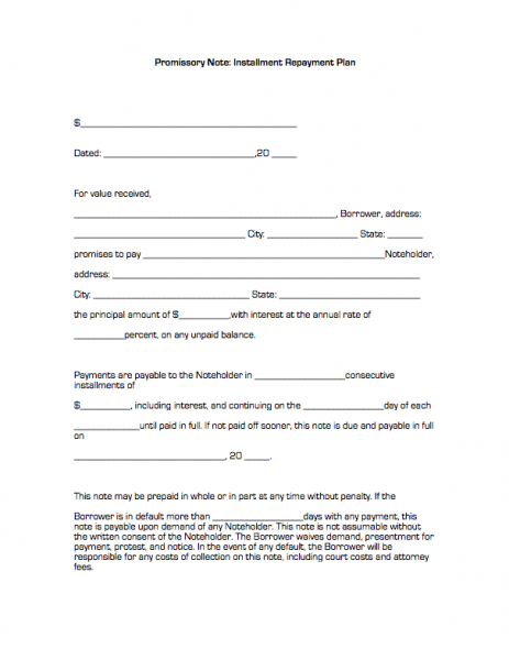 Doc12751650 Printable Promissory Note Form 1000 ideas about – Form of Promissory Note