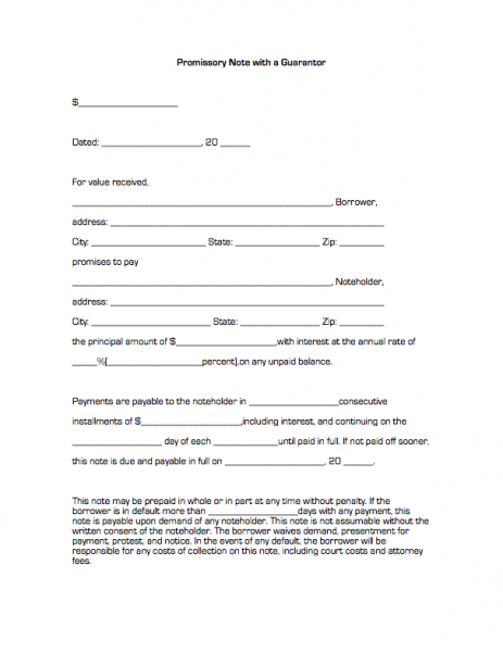 Promissory Note With A Guarantor | Business Forms