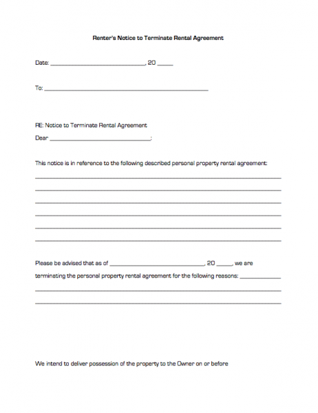 Renter s notice to terminate rental agreement business forms