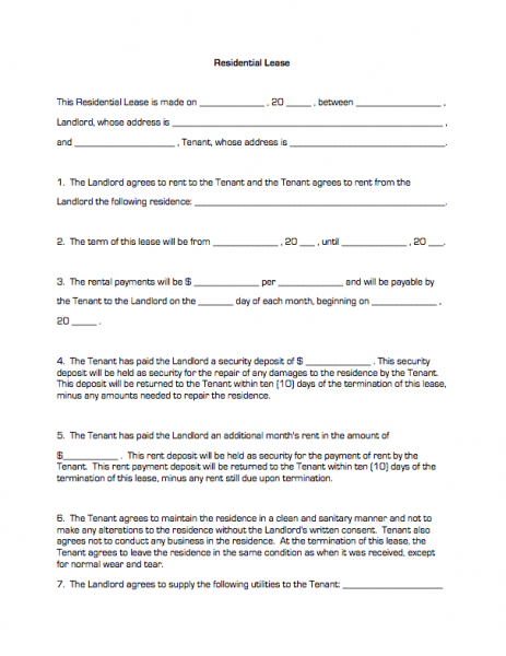 Residential Lease Business Forms
