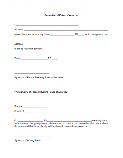 Revocation of Power of Attorney | Business Forms