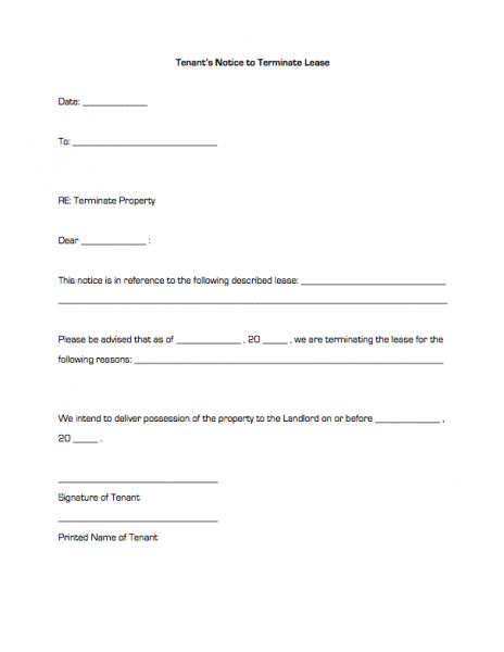 tenants notice to terminate lease business forms landlord - Notice To Terminate Lease Agreement