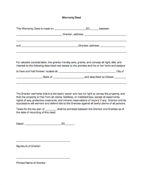 Warranty Deed – Warranty Deed Form Template